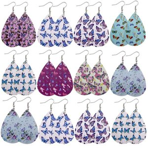 New Butterfly Printing Leather Dangle Earrings for Women High Quality Handmade Earring Statement Jewelry Fashion Accessories 5 Styles