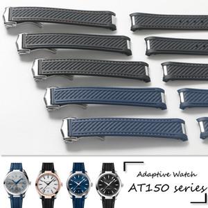 20 ملليمتر حزام حزام الرجال الأزرق الأسود للماء سيليكون المطاط watchbands سوار المشبك مشبك لأوميغا 300 AT150 8900 + أدوات