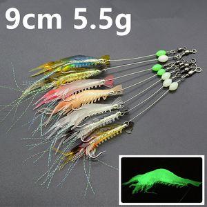 7 colori 9 centimetri 5.5g luminoso gamberetti amo da pesca Ganci ami morbide Esche Esche Pesca Pesca Tackle Accessori c-033