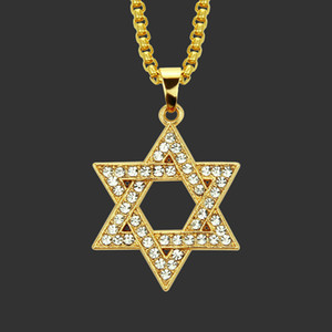 Schmuck Geschenk-Hip-Hop-Mann aushöhlen Diamant David Stern Halskette Solomon Seal Six Star Zubehör Anhänger Weinlese-Partei