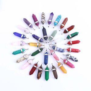 Мода кварц точки Подвеска для женщин и мужчин Натуральный камень кристалл Агатовые пуля шестигранной призмы кулон без цепочки