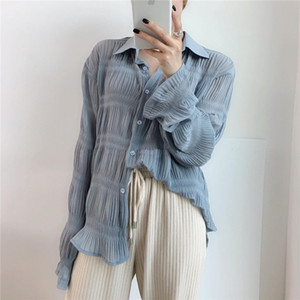 Uzaylı Kitty Gündelik Kıvrımlar Alternatif Zarif Kadın Bluzlar Düzenli 2020 Yeni Tasarım Gevşek İnce Tam Kollu Ücretsiz Gömlek Kadın Y200403