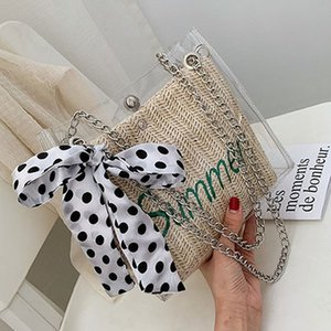 Summer small fresh package female 2019 new wild net red shoulder bag foreign gas chain slung transparent straw bag