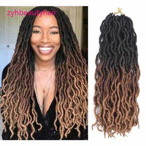 18 pulgadas Diosa Faux Locs Crochet Trenzas Trenzas Extensiones de cabello Miel Rubio Ondulado Dreadlocs Sintético Crochet Braid Hair Weave