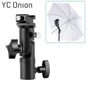 E Tipi Evrensel Flaş Parantez Hot Shoe Studio Video DSLR Kamera Canon için Şemsiye Işık Tutucu Dağı Flaş standı