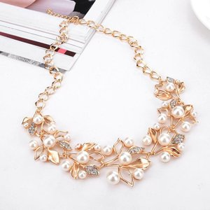 Shining Gold 2 Sets Rhinestone Crystals Pearls Bridal Jewelry Cheap Gold Flowers Necklace and Earrings for Prom Pageant Party Accessories