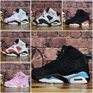 Nike Air Jordan 6 Дети-6 Баскетбола обувь оптом New 1 пространство варенье J4 J6 6S тапки дети Спорт Бег девушка мальчик тренеры J6 обуви 28-35