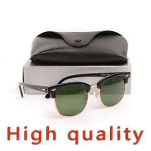 High Quanlity Gafas de sol Bisagra de metal Gafas de sol negras Gafas de sol de cristal Lente de cristal Gafas de sol para hombre Gafas de sol de diseñador de la marca Gafas para mujer
