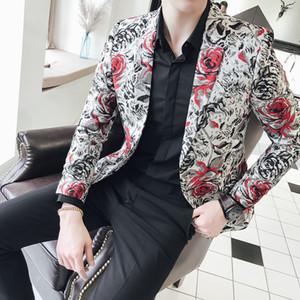 Rose flower Jacquard Blazer Men Pattern Suit Jacket Business Causal 2018 Men Slim Fit Blazers 2 Button Wedding Party Prom Blazer