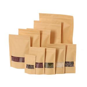 Kraft bolsa de papel sellado de la bolsa de envasado de alimentos bolsas reutilizables de barrera de humedad bolsas con la ventana clara A03