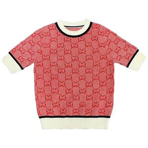 haut de gamme de la mode féminine de la marque de luxe d'été nouvelle laine tricotée femmes T-shirt à manches courtes T-shirts Top