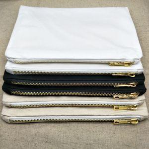 Bolsa de Cosméticos Naturales 12oz lona gruesa 10pcs / lot 7x10 pulgadas en blanco bolsa de algodón natural Llanura bolsa de maquillaje en blanco ZIP con 5 # cremallera metálica de oro
