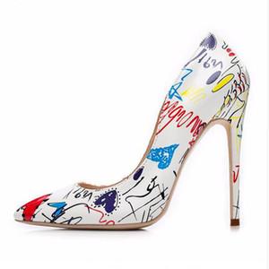 New Graffiti Womens Heels Shoes Wedding Pumps Women Shoes Pointed Toe 42 Size Sexy Stiletto Heels Party Shoes Sapato Feminino Salto Luxo