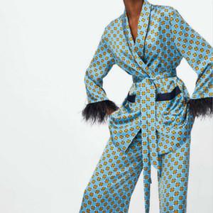 Fashion- Frauen Weinlese-Druck Blazer mit Gürtel Harajuku Kimono Mantel-Tasche Feder Quaste Outwear Damen Sakkos Korean