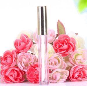 Großhandel heiße 250 stücke 10 ml mini runde lip gloss rohr kosmetische paket lip gloss flasche leer behälter mit goldkappe neu