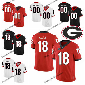 Personalizar 2019 Geórgia Bulldogs Isaac Nauta Faculdade Camisas de Futebol Preto Vermelho # 18 Isaac Nauta Costurado Camisas de Futebol S-XXXL
