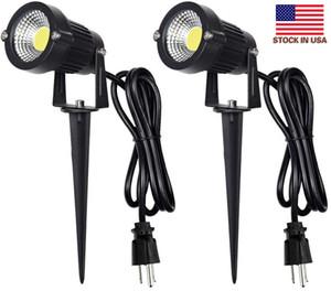 Bize stokları + Mekan LED Spot 5W, 120V AC, 3000K Sıcak Beyaz, Açık Kullanım, Metal Zemin Bahis, Bayrak Işık, Stake ile Açık Spotlight