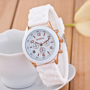Geneva watches New silicone rubber jelly Shadow Candy watches unisex Man ladies Classic rose gold quartz watches Christmas gift