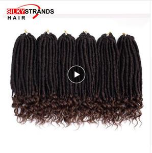 Ombre Goddess Faux Locs Curly häkeln Haarverlängerungen mit Kanekalon Seidigen Strähnen Synthetische weiche Dread Locs Häkeln Zöpfe