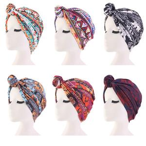 Yeni Kadın Türban Şapka bohem tarzı baskı üst düğüm türban afrika büküm headwrap Bayanlar Hindistan Şapka Kemo Kap Saç Aksesuarları