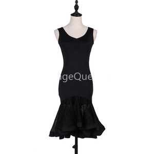 2019 Femmes noires Professional Latin Dance Dress pour femme Ballroom Dance Competition Dresses Modern Modern Valse / Tango / Cha Cha Costumes