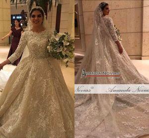 Bola Flores chamagne 3D vestido de casamento Vestidos muçulmana mangas compridas Open Back Plus Size Vestido de Noiva real Pictures