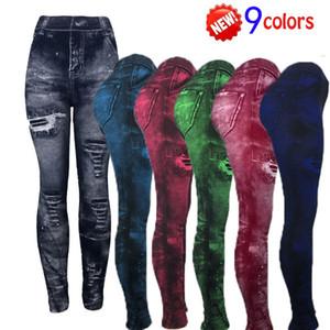 Kadın İmitasyon Jeans Yoga Pantolon Gündelik Gerdirilebilir İnce Spor Tozluklar Denim Jeans Kalçalar Tayt Spor Kalem Pantolon
