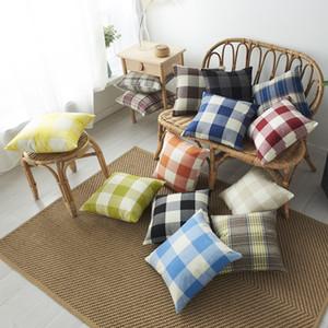 Yastık Kapak Keten Yastık Kılıfı Ev Dekorasyon Yastık Kapak Toptan DBC VT1209 Baskı Kafes Renkli Ekose Koltuk Yastık Kapak 18x18 İnç