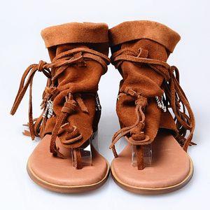 Женская Гладиатор Flat Sandals кисточки Fringe Real замши кожаные ботинки клип Toe Bohemia шариков Roman Cowboy ретро 3Colors лето