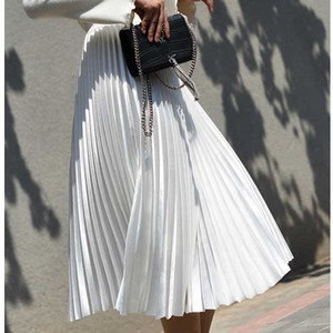 2020 High Waist Women Long Skirt White Pleated Skirts Fashion Design Top Women Skirts Female Long Faldas Saia Midi