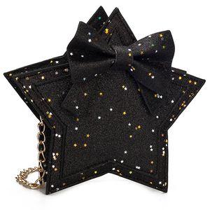 Mädchen-Prinzessin Sequin-Münzen-Mappen Pentagram Cute Little Bow Wallet Mode Kind Umhängetasche