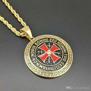 designer di gioielli Templari attraversano ciondolo spada in acciaio e oro placcato ciondolo shileld per le donne