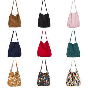 2019 yeni Şeker Renk Kadife Klasik Kadın Alışveriş Çantaları Çiçek Baskı Büyük Kapasiteli Omuz Çantası Sonbahar Retro Bayanlar Alışveriş Çantası B49