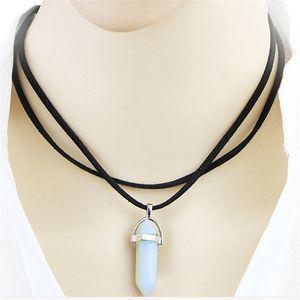 Hexagonal coluna Chains Natural Cristal Tiger Eye Pendentif Amethyste Stone pingente de colar de jóias mulheres Chain Link na moda