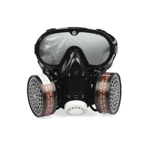 2020 Neue stil 2 in 1 industrieller staubdicht maske anti staub anti-toxin goggle augen nase mundschutz massivator gasmaske sicherheit