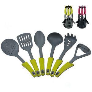 6 pçs / set não-stick de silicone conjunto de ferramentas de cozinha pá colher de sopa colander espátula de nylon kitchenware ferramenta de cozinha utensílio de cozinha conjunto