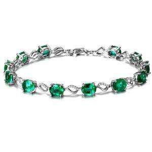 Joyería de la moda pulsera esmeralda de piedra para mujeres mujeres de lujo Esmeralda joyería de plata regalo de bodas FJJ52