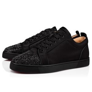 Zapatos inferiores rojos de la marca de lujo Hombres, zapatos de mujer Zapatillas bajas de cuero genuino Zapatos de punta Strass, planos al aire libre con zapatos de fiesta para caminar