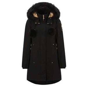 Damen Daunenjacke mit Kapuze Pike Daunenjacke Lang Abnehmbarer Hut Großer Pelzkragen Outwear Schlank Winter Outdoor Wear Schwarz Blau Schere 4V
