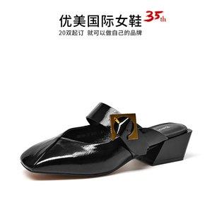 2019 Женские сандалии наполовину тапочки Женская одежда Xia Wai Baotou Mueller Shoes Англия Женская обувь из натуральной кожи