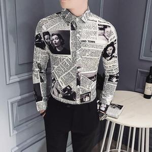 Mode Robe Hommes Chemises manches longues Noir Vintage Designer Shirt Homme Slim Fit bouton Imprimer Casual Up Printemps Vêtements sociaux