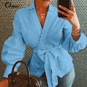 Femmes Tops et Blouses celmia Automne Lanterne manches Tunique Chemises habillées en vrac V-Neck Ladies Blusas femininas Belted Plus Size T200628