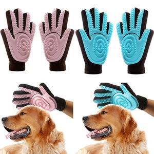 High 2Pcs Pet Grooming Glove Silicone Gentle Deshedding Massage Brush Tool for Dogs Cats UEJ