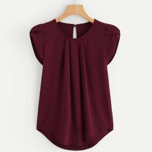 2019 Kadınlar şifon Katı Saf Temel Yumuşak Kırmızı Bluzlar Yaz En Popüler Basit Gevşek Kısa Kollu Bluz Gömlek Yelek blusa Tops