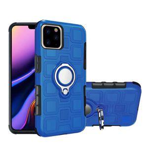 Auto-Magnetic-Finger-Ring-Halter Voll Protect-Telefon-Kasten Anti-Sturz Ständer PC harte rückseitige Abdeckung für iPhone 11 Pro Max Samsung S10 J2