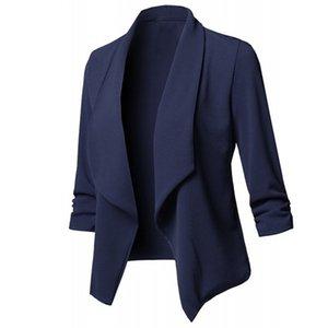 New Solid Color Office Lady Lapel Long Sleeve Blazer Slim Fit Suit Coat Jacket