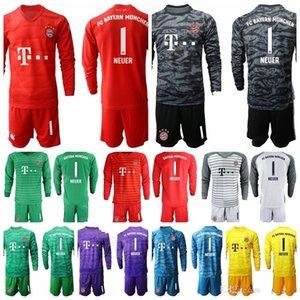Bayern Monaco Portiere GK portiere a manica lunga Adulti 1 Oliver Kahn maglia da calcio Set 1 Manuel Neuer 26 Sven Ulreich Football Shirt Kit