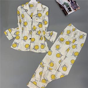 SOVELOSA Druck Mode Frauen Pyjamas Sets Süße Langarm Dünnschnitt Strickjacke Twinset Nachtwäsche Floral Herbst Pijamas Set