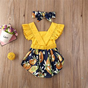 Bambini ragazze vestono il pagliaccetto con fascia Tute Halter Skirt maniche increspato Bretelle delle tute delle tute Fasce due pezzi set E33002