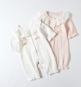 abbigliamento Ins Bambino Primavera Autunno 100% cotone pagliaccetto del merletto O-collo vestiti cuasual Solid Color Design neonata romper